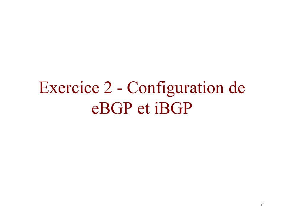 73 A C B FE I G D H J Liste des sessions et numéros dAS AS 1AS 2 AS 3 AS 4 AS 5 AS 6 AS 7AS 8 AS 9 AS 10 Session eBGP