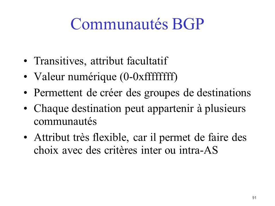 90 Origin (Origine de la route) Indique lorigine du préfixe Trois valeurs –IGP - préfixe obtenu avec une clause network exemple : network 35.0.0.0 –EG
