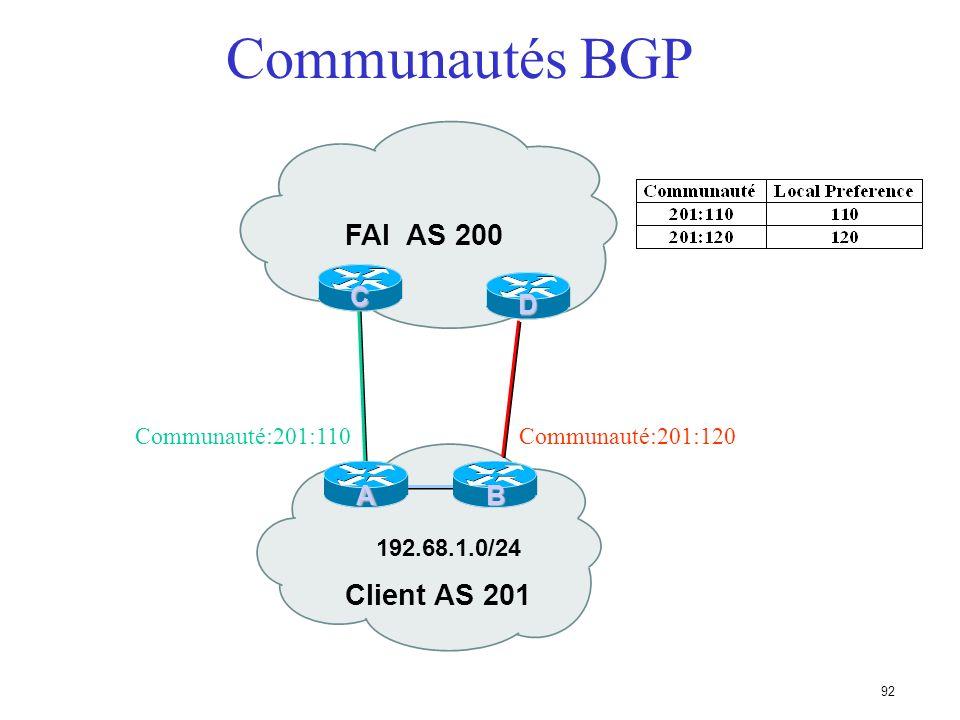 91 Communautés BGP Transitives, attribut facultatif Valeur numérique (0-0xffffffff) Permettent de créer des groupes de destinations Chaque destination