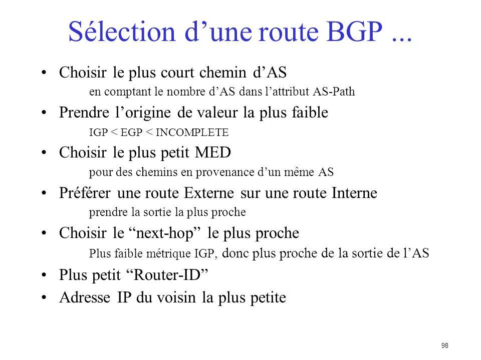 97 Sélection dune route BGP (bestpath) Il ne peut y avoir quun seul meilleur chemin ! (sauf multipath) La route doit être synchronisée Cest à dire êtr