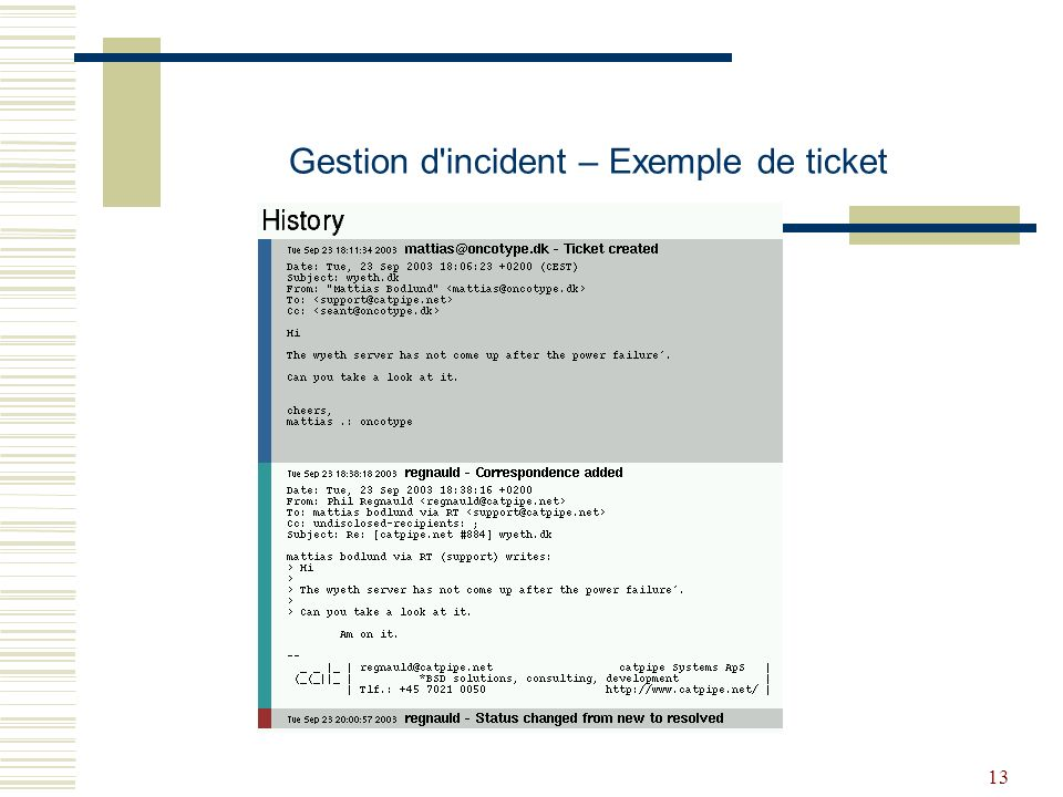 13 Gestion d incident – Exemple de ticket