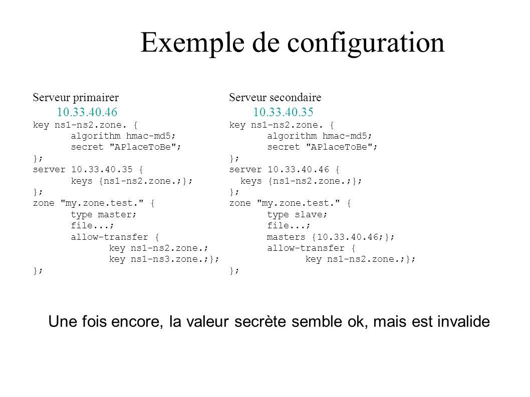 Exemple de configuration Serveur primairer 10.33.40.46 key ns1-ns2.zone.