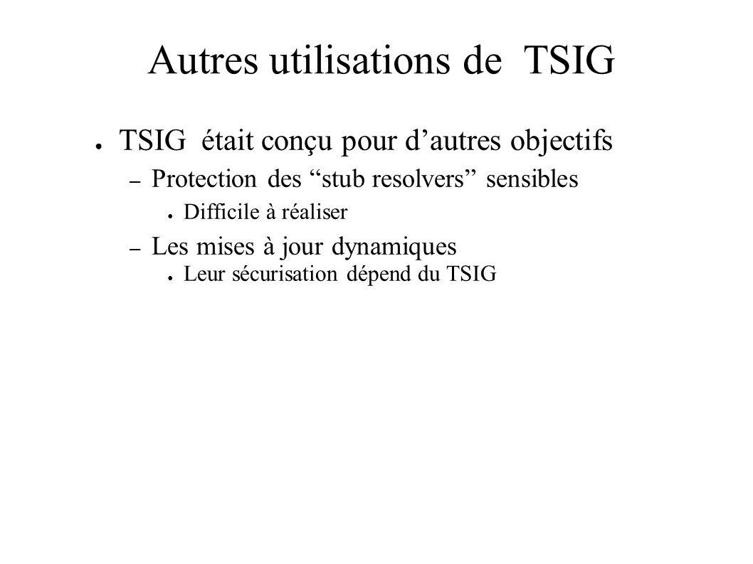 Autres utilisations de TSIG TSIG était conçu pour dautres objectifs – Protection des stub resolvers sensibles Difficile à réaliser – Les mises à jour dynamiques Leur sécurisation dépend du TSIG