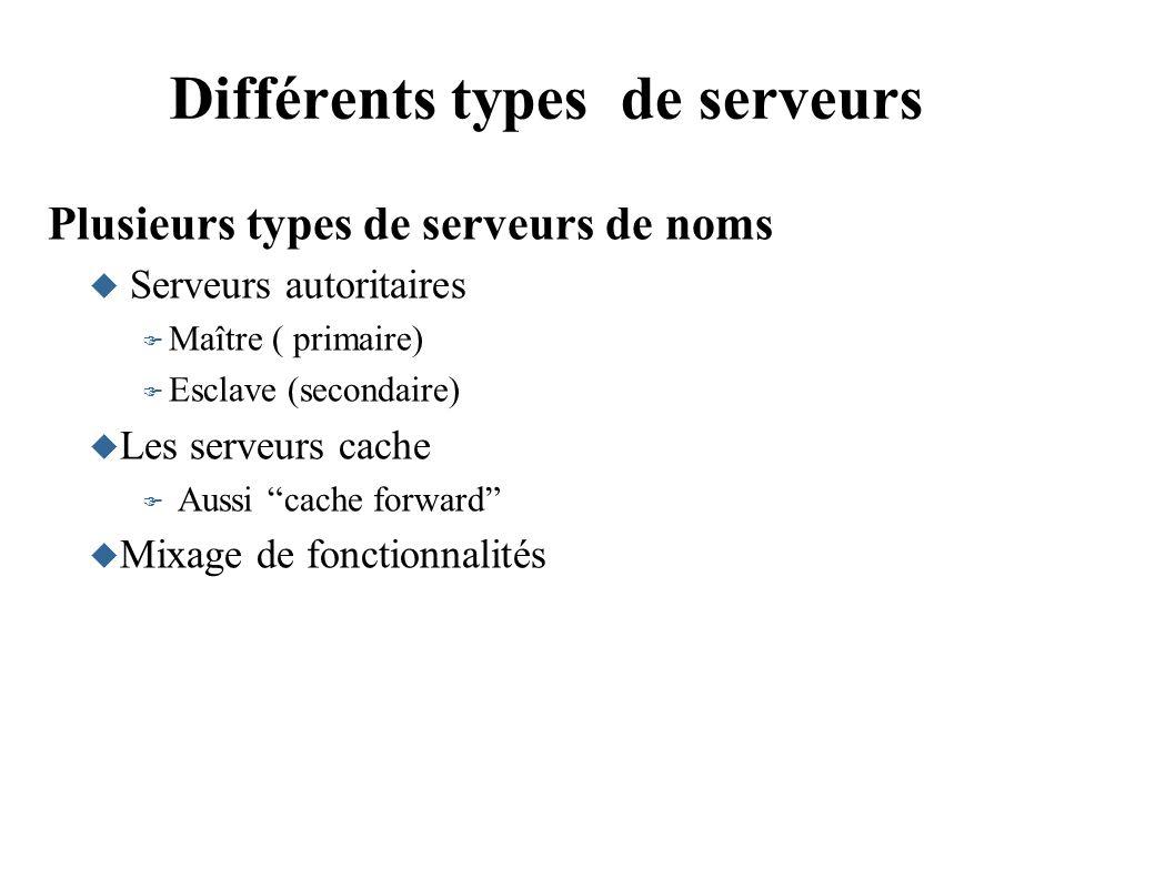 Différents types de serveurs Plusieurs types de serveurs de noms Serveurs autoritaires Maître ( primaire) Esclave (secondaire) Les serveurs cache Aussi cache forward Mixage de fonctionnalités