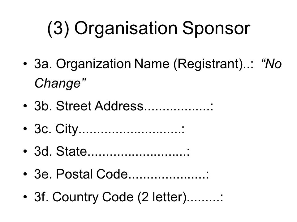 (3) Organisation Sponsor 3a. Organization Name (Registrant)..: No Change 3b. Street Address..................: 3c. City............................: 3