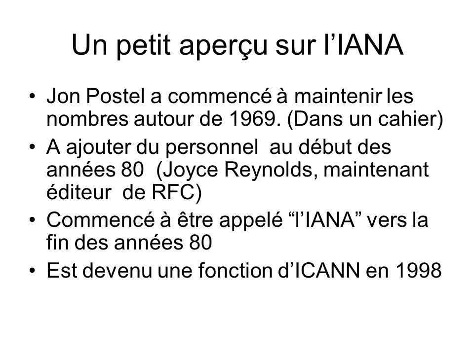 Un petit aperçu sur lIANA Jon Postel a commencé à maintenir les nombres autour de 1969.