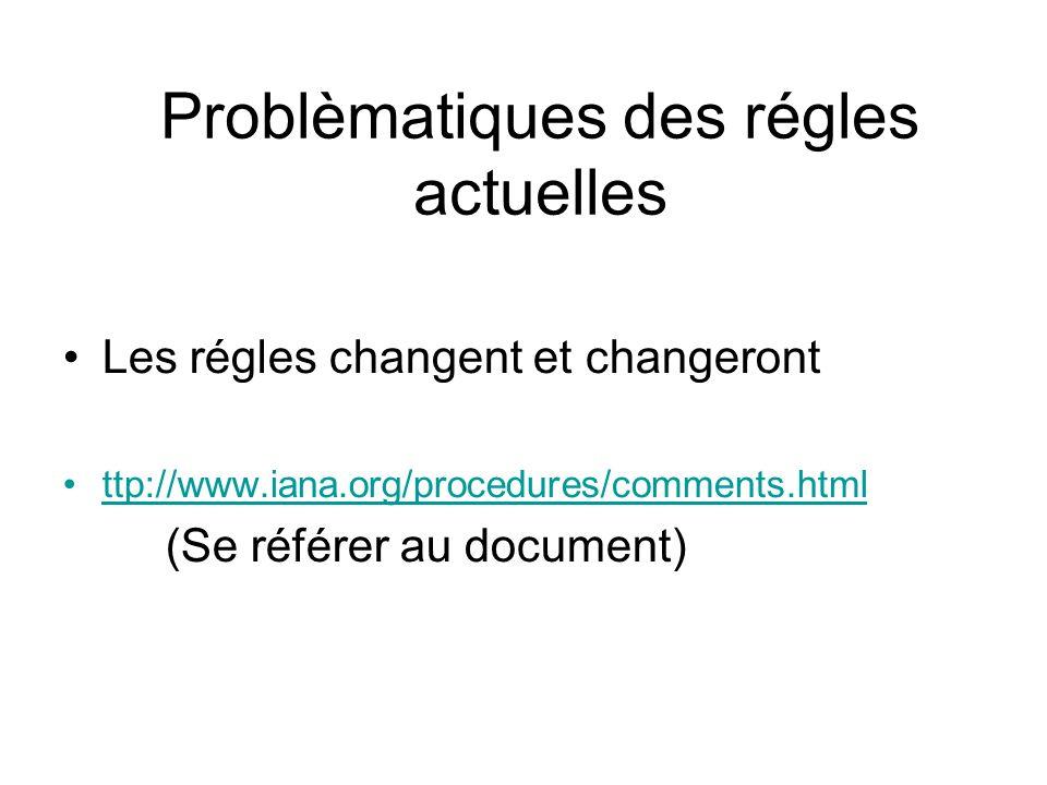 Problèmatiques des régles actuelles Les régles changent et changeront ttp://www.iana.org/procedures/comments.html (Se référer au document)