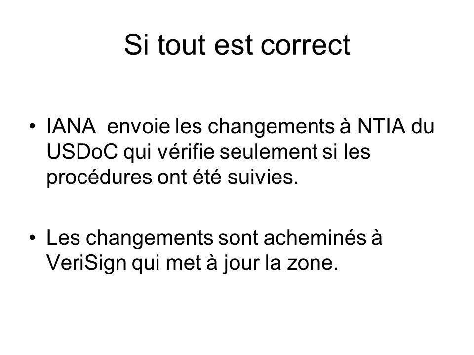 Si tout est correct IANA envoie les changements à NTIA du USDoC qui vérifie seulement si les procédures ont été suivies.