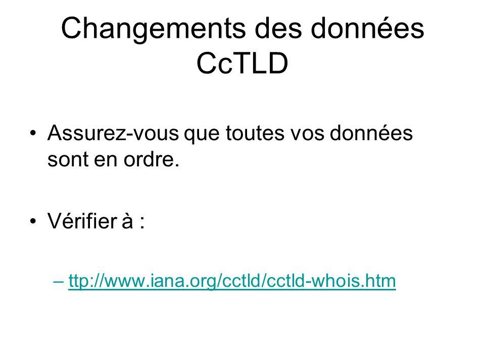 Changements des données CcTLD Assurez-vous que toutes vos données sont en ordre.