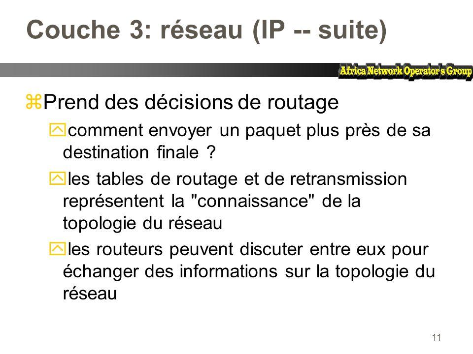 11 Couche 3: réseau (IP -- suite) zPrend des décisions de routage ycomment envoyer un paquet plus près de sa destination finale ? yles tables de routa