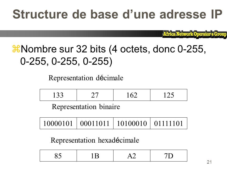 21 Structure de base dune adresse IP zNombre sur 32 bits (4 octets, donc 0-255, 0-255, 0-255, 0-255) 13327162125 10000101000110111010001001111101 851B
