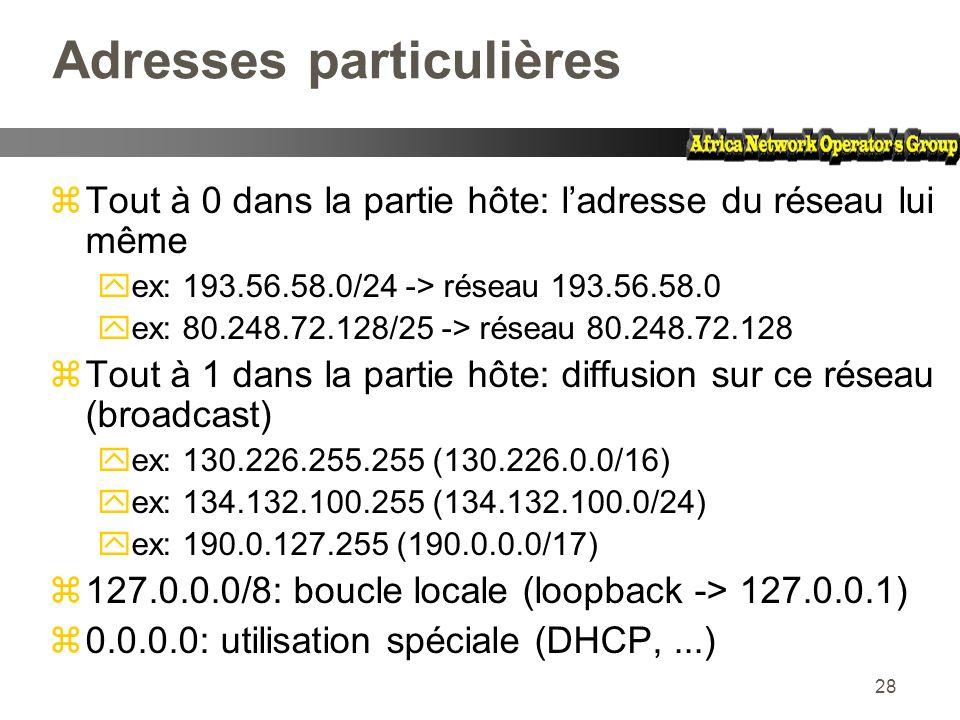 28 Adresses particulières zTout à 0 dans la partie hôte: ladresse du réseau lui même yex: 193.56.58.0/24 -> réseau 193.56.58.0 yex: 80.248.72.128/25 -
