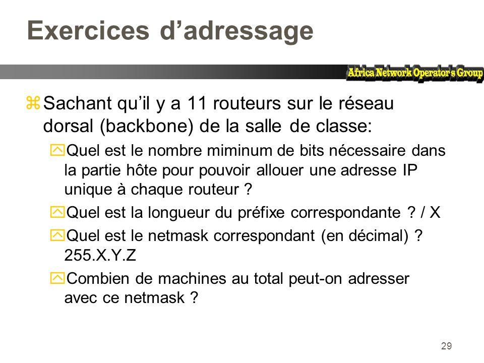 29 Exercices dadressage zSachant quil y a 11 routeurs sur le réseau dorsal (backbone) de la salle de classe: yQuel est le nombre miminum de bits néces