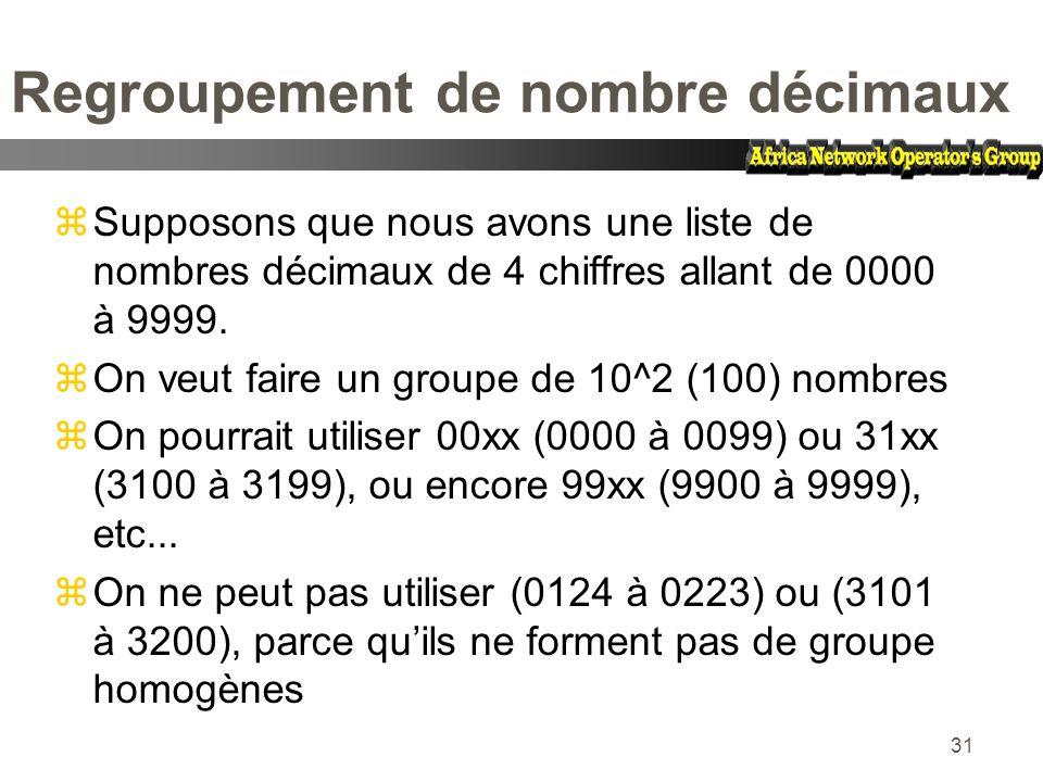 31 Regroupement de nombre décimaux zSupposons que nous avons une liste de nombres décimaux de 4 chiffres allant de 0000 à 9999. zOn veut faire un grou