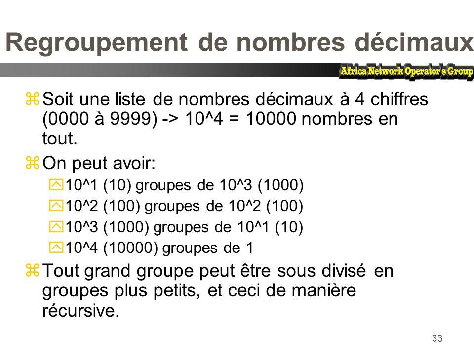 33 Regroupement de nombres décimaux zSoit une liste de nombres décimaux à 4 chiffres (0000 à 9999) -> 10^4 = 10000 nombres en tout. zOn peut avoir: y1