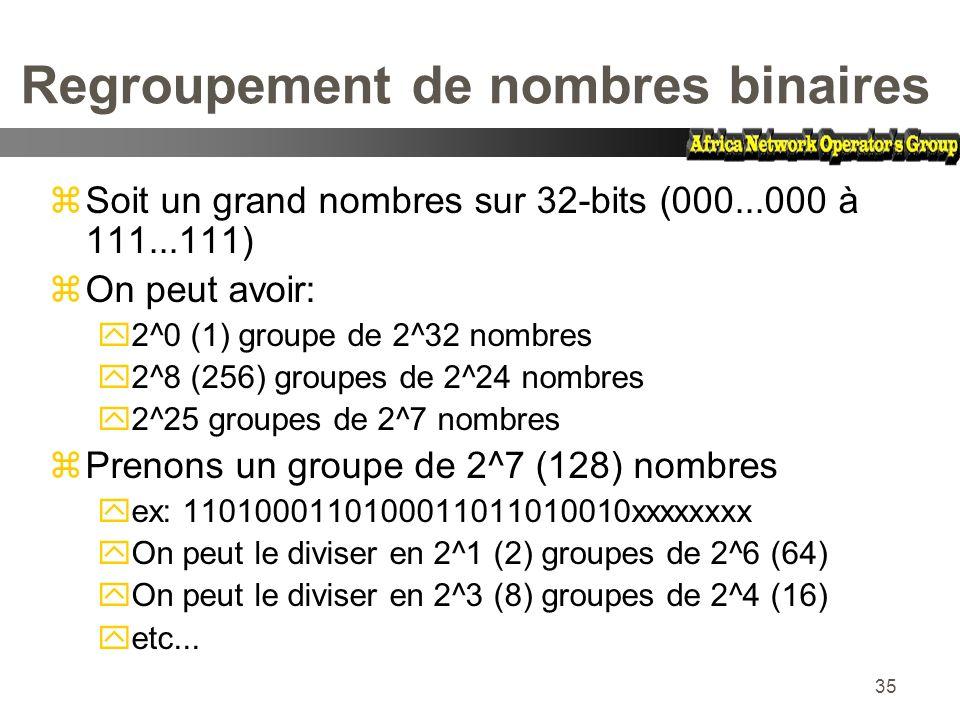 35 Regroupement de nombres binaires zSoit un grand nombres sur 32-bits (000...000 à 111...111) zOn peut avoir: y2^0 (1) groupe de 2^32 nombres y2^8 (2