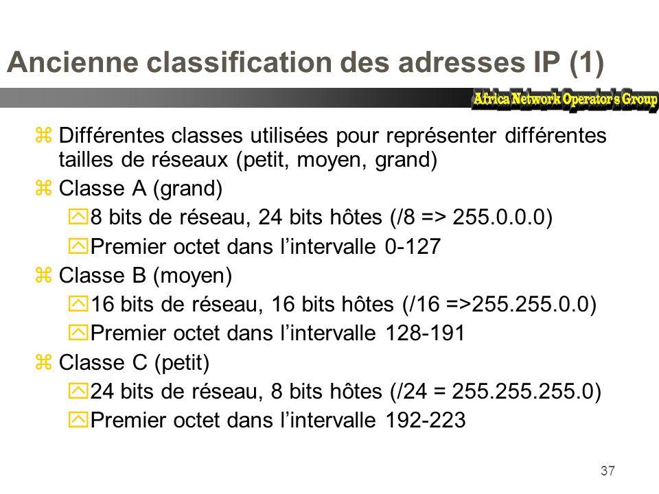 37 Ancienne classification des adresses IP (1) zDifférentes classes utilisées pour représenter différentes tailles de réseaux (petit, moyen, grand) zC