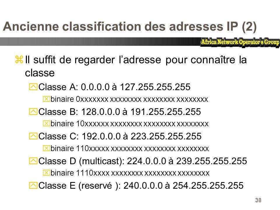 38 Ancienne classification des adresses IP (2) zIl suffit de regarder ladresse pour connaître la classe yClasse A: 0.0.0.0 à 127.255.255.255 xbinaire