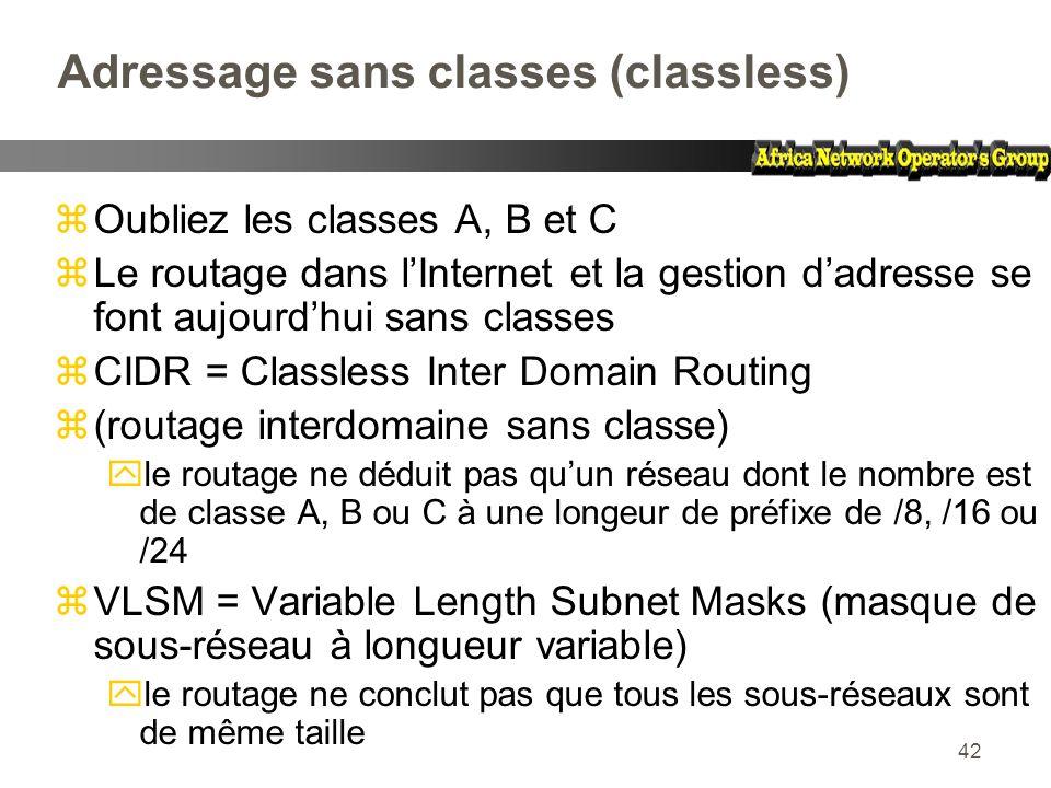 42 Adressage sans classes (classless) zOubliez les classes A, B et C zLe routage dans lInternet et la gestion dadresse se font aujourdhui sans classes