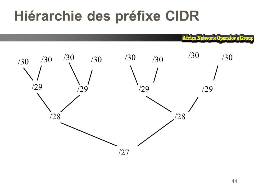 44 Hiérarchie des préfixe CIDR /30 /29 /28 /27