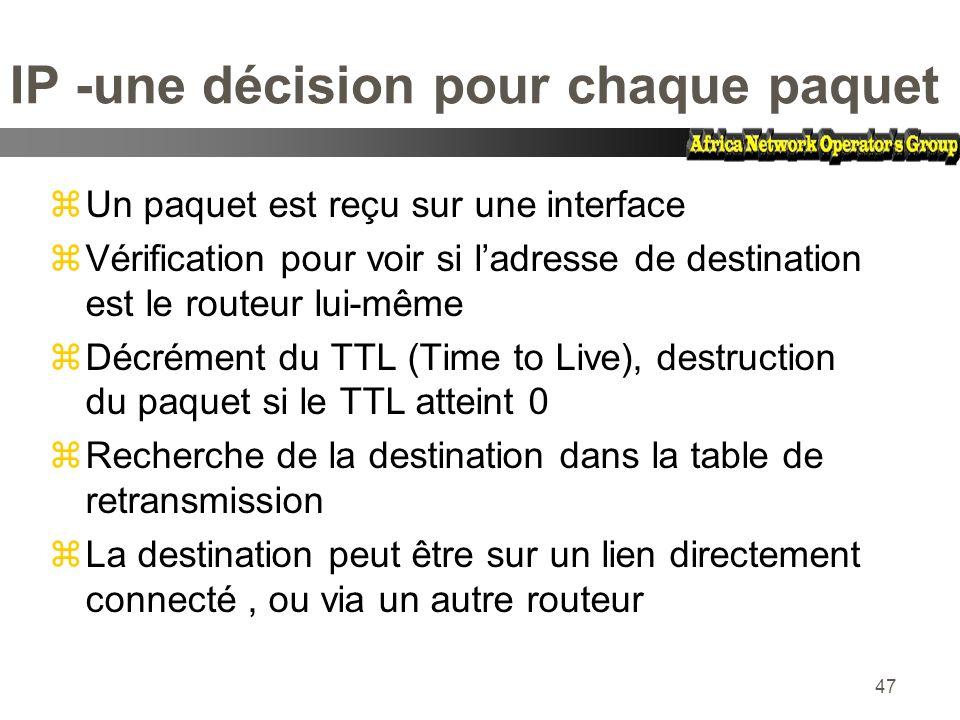 47 IP -une décision pour chaque paquet zUn paquet est reçu sur une interface zVérification pour voir si ladresse de destination est le routeur lui-mêm