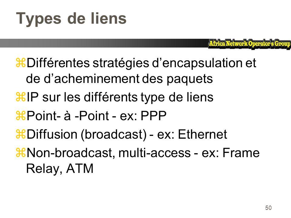 50 Types de liens zDifférentes stratégies dencapsulation et de dacheminement des paquets zIP sur les différents type de liens zPoint- à -Point - ex: P