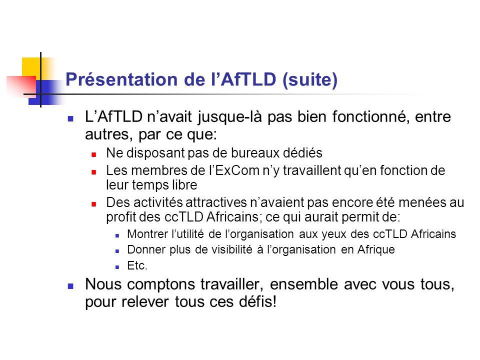 Présentation de lAfTLD (suite) LAfTLD navait jusque-là pas bien fonctionné, entre autres, par ce que: Ne disposant pas de bureaux dédiés Les membres d