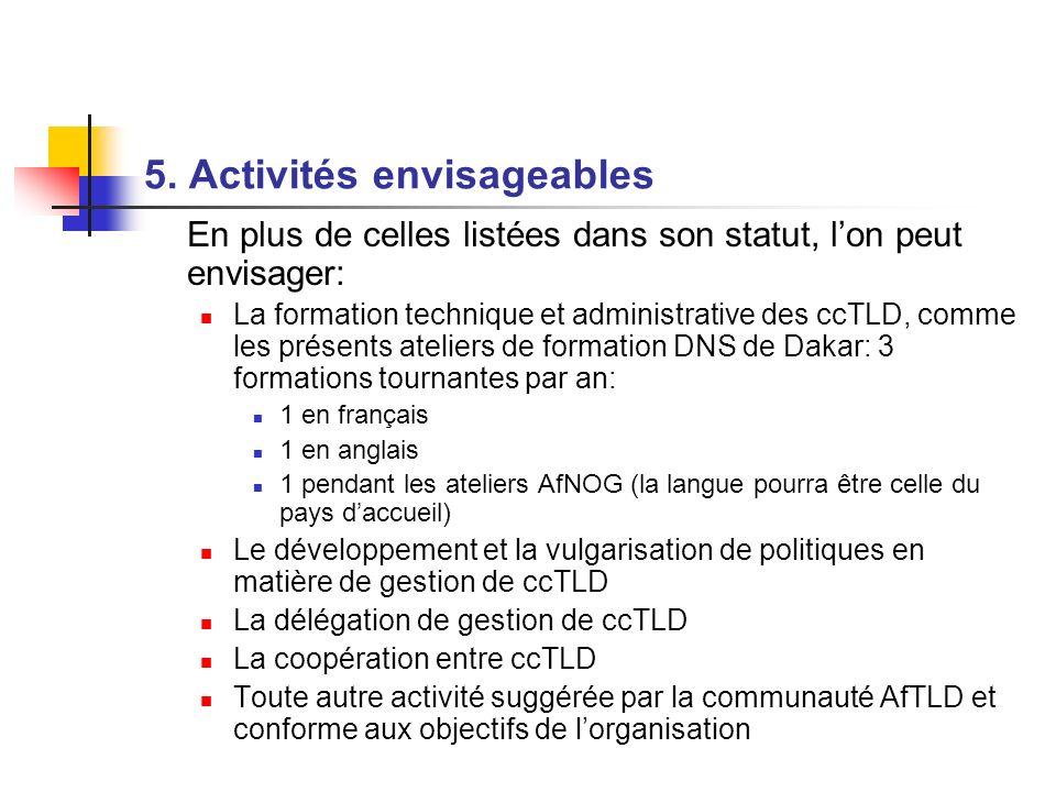 5. Activités envisageables En plus de celles listées dans son statut, lon peut envisager: La formation technique et administrative des ccTLD, comme le
