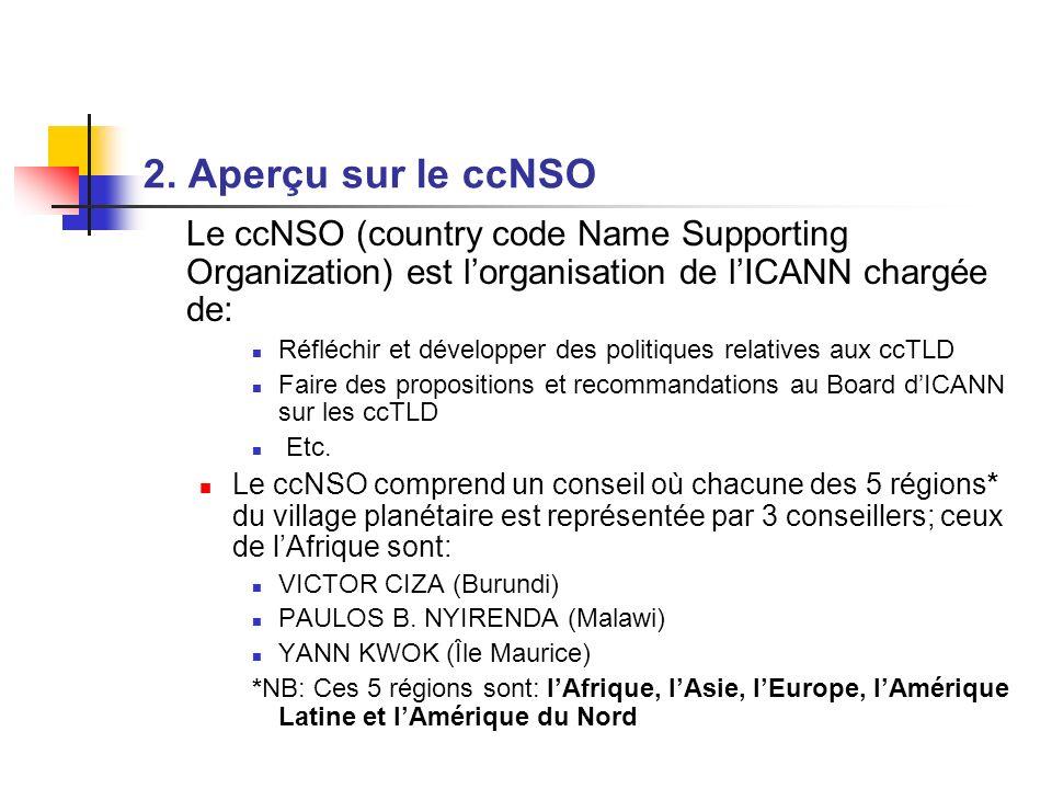2. Aperçu sur le ccNSO Le ccNSO (country code Name Supporting Organization) est lorganisation de lICANN chargée de: Réfléchir et développer des politi