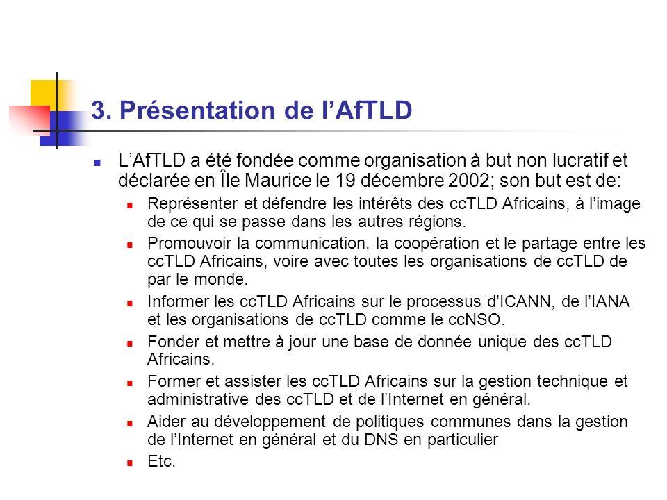 3. Présentation de lAfTLD LAfTLD a été fondée comme organisation à but non lucratif et déclarée en Île Maurice le 19 décembre 2002; son but est de: Re