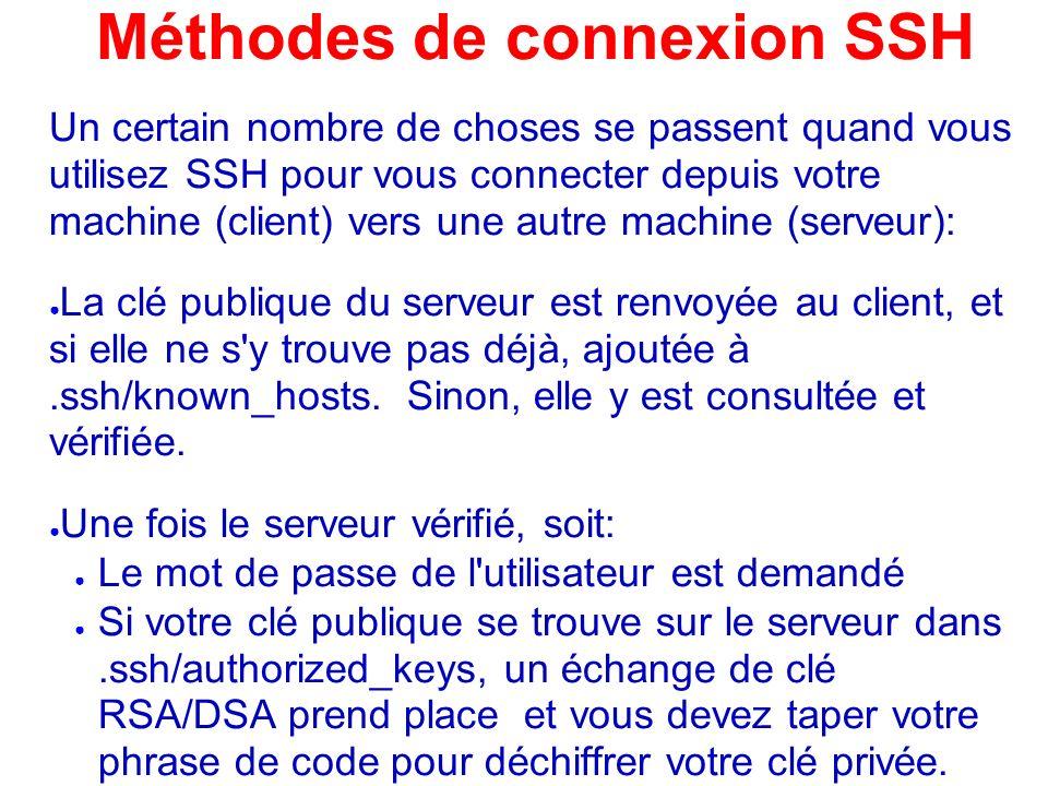 Méthodes de connexion SSH Un certain nombre de choses se passent quand vous utilisez SSH pour vous connecter depuis votre machine (client) vers une au