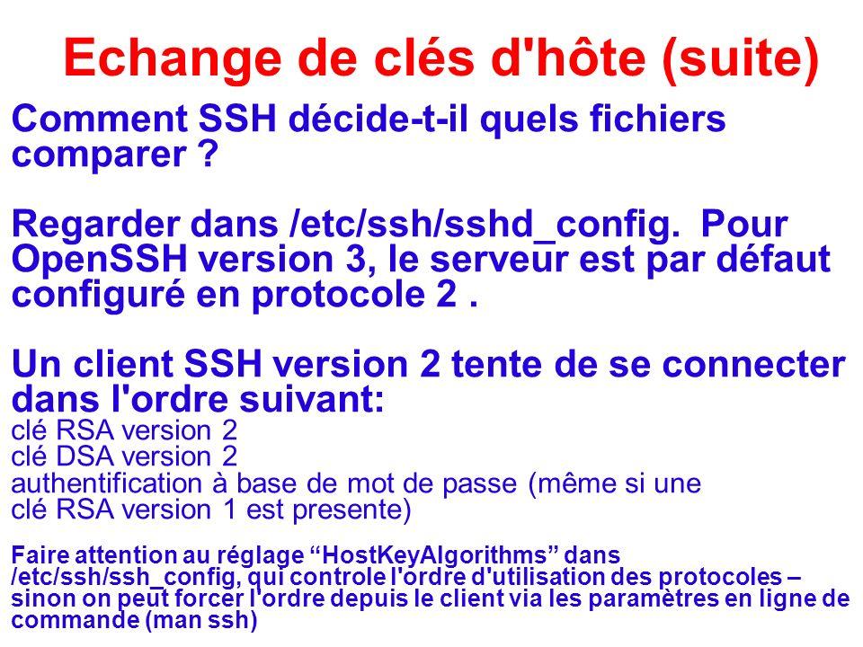 Echange de clés d'hôte (suite) Comment SSH décide-t-il quels fichiers comparer ? Regarder dans /etc/ssh/sshd_config. Pour OpenSSH version 3, le serveu