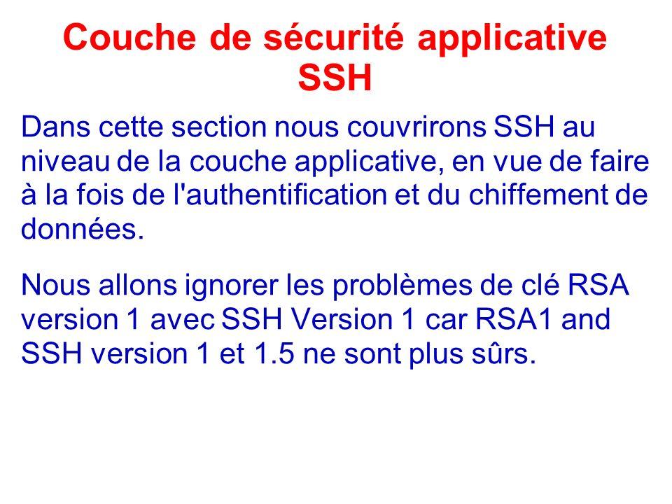Couche de sécurité applicative SSH Dans cette section nous couvrirons SSH au niveau de la couche applicative, en vue de faire à la fois de l'authentif