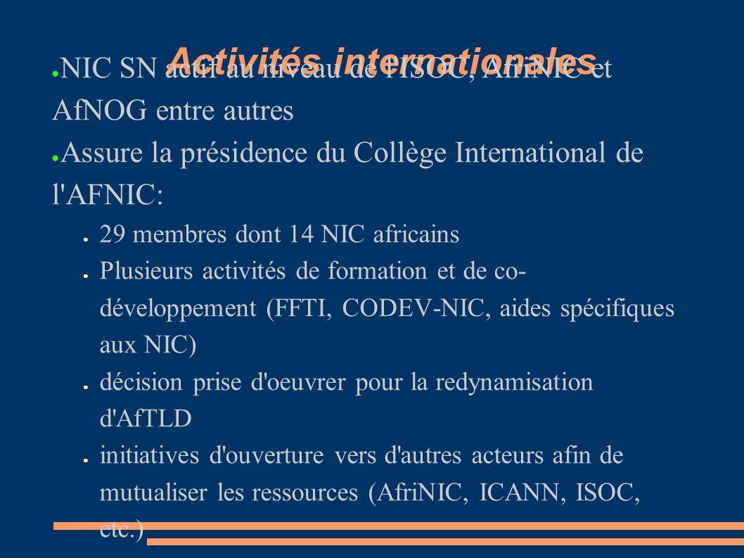 Activités internationales NIC SN actif au niveau de l ISOC, AfriNIC et AfNOG entre autres Assure la présidence du Collège International de l AFNIC: 29 membres dont 14 NIC africains Plusieurs activités de formation et de co- développement (FFTI, CODEV-NIC, aides spécifiques aux NIC) décision prise d oeuvrer pour la redynamisation d AfTLD initiatives d ouverture vers d autres acteurs afin de mutualiser les ressources (AfriNIC, ICANN, ISOC, etc.)