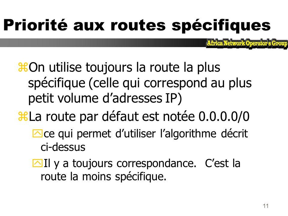 10 Priorité aux routes spécifiques R2 R3 R1 R4 Tout 10.0.0.0/8 sauf 10.1.0.0/16 10.1/16 10.0.0.0/8 -> R3 10.1.0.0/16 -> R4 20.0.0.0/8 -> R5 ….. Table