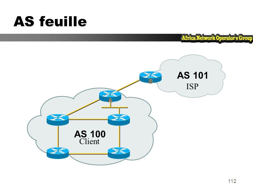 111 AS feuille (stub AS) zSituation ne nécessitant pas de BGP zRoute par défaut chez le FAI zLe FAI annonce vos réseaux dans on AS zLa politique de ro