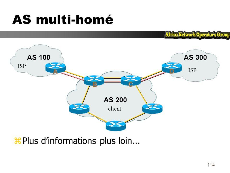 113 AS multi-raccordé (multi-homed) zLes routeurs dextrêmité font du BGP zSessions IBGP entre ces routeurs zIl faut redistribuer les routes apprises a