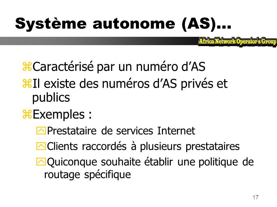 16 Système autonome (AS) zEnsemble de réseaux partageant la même politique de routage zUtilisation dun même protocole de routage zGénéralement sous un