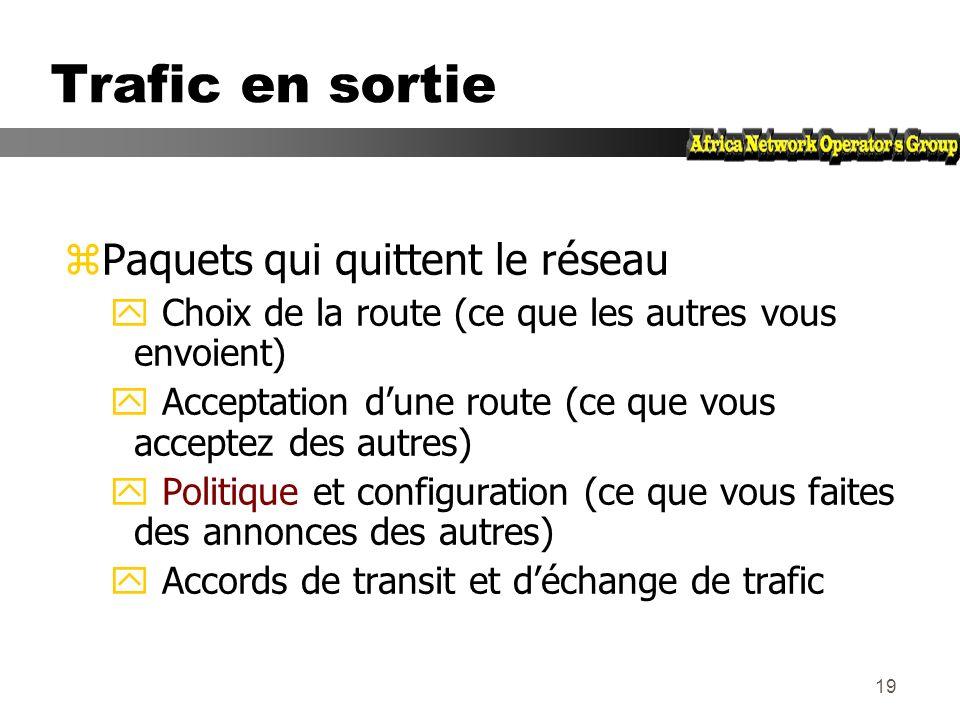 18 Flux de routes et de paquets Pour que AS1 et AS2 puissent communiquer : AS1 annonce des routes à AS2 AS2 accepte des routes de AS1 AS2 annonce des