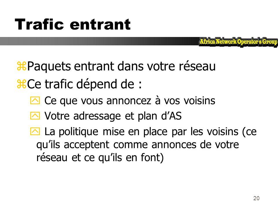19 Trafic en sortie zPaquets qui quittent le réseau y Choix de la route (ce que les autres vous envoient) y Acceptation dune route (ce que vous accept