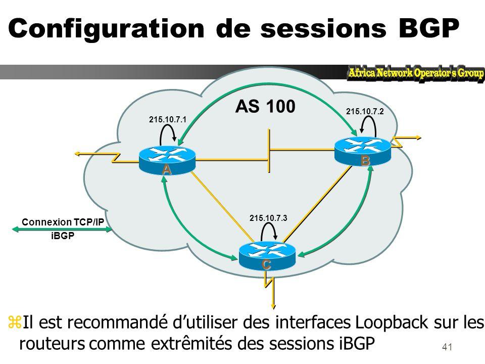 40 Configuration de sessions BGP zChaque routeur iBGP doit établir une session avec tous les autres routeurs iBGP du même AS Connexion TCP/IP iBGP AS