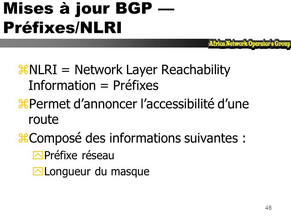 45 Longueur du champ routes inacessibles (2 Octets) Routes supprimées (Variable) Longueur des champs Attributs (2 Octets) Préfixe/Network Layer Reacha