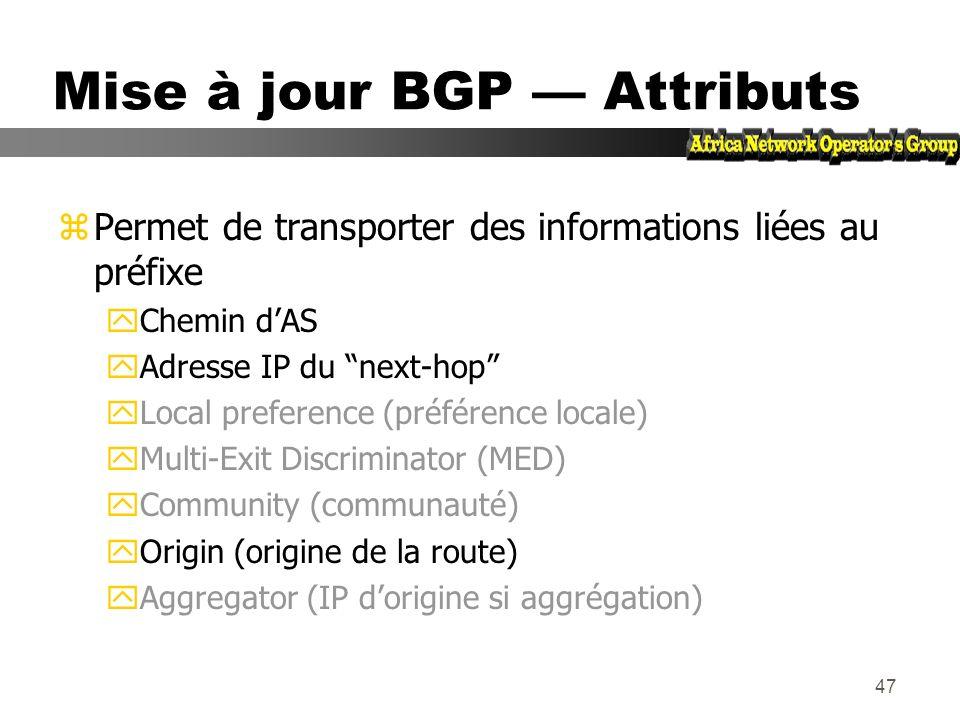 46 Mises à jour BGP Préfixes/NLRI zNLRI = Network Layer Reachability Information = Préfixes zPermet dannoncer laccessibilité dune route zComposé des i