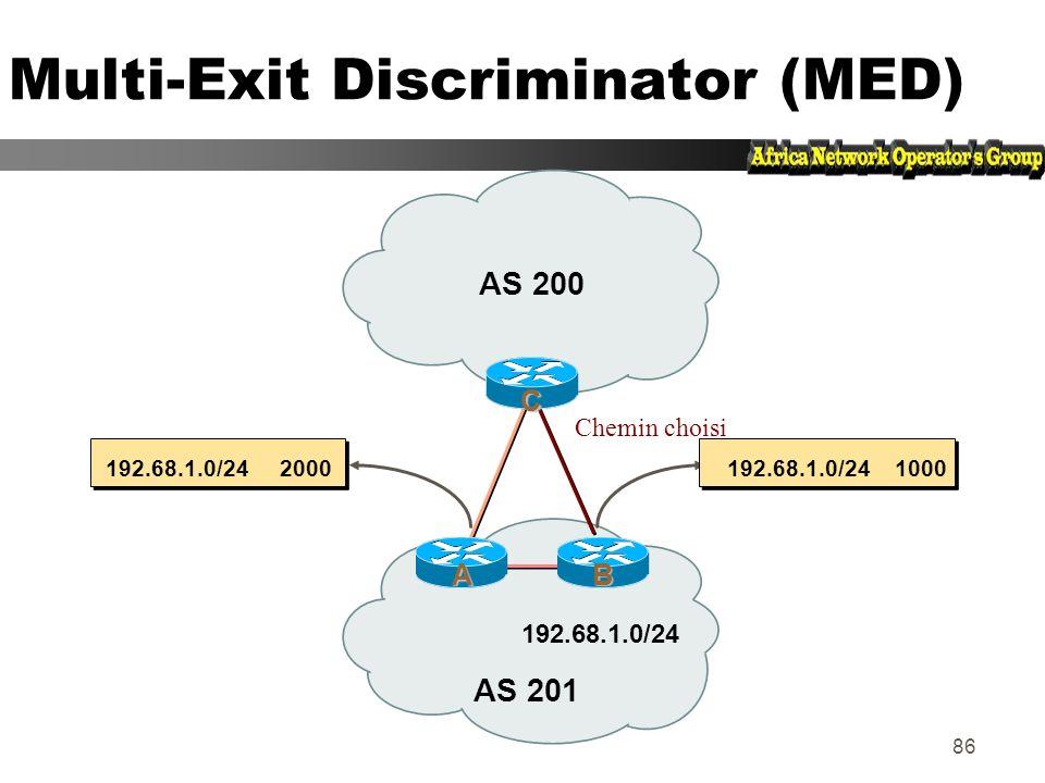 85 Multi-Exit Discriminator Attribut non transitif z Valeur numérique (0-0xffffffff) z Permet de transporter des préférences relatives entre points de