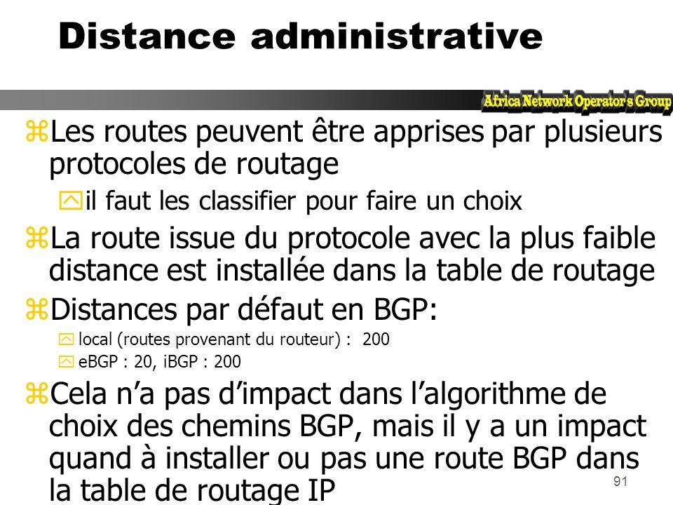 90 Poids (Weight) zAttribut spécifique Cisco utilisé lorsquil y a plus dune route vers la même destination zAttribut local à un routeur (non propagé a