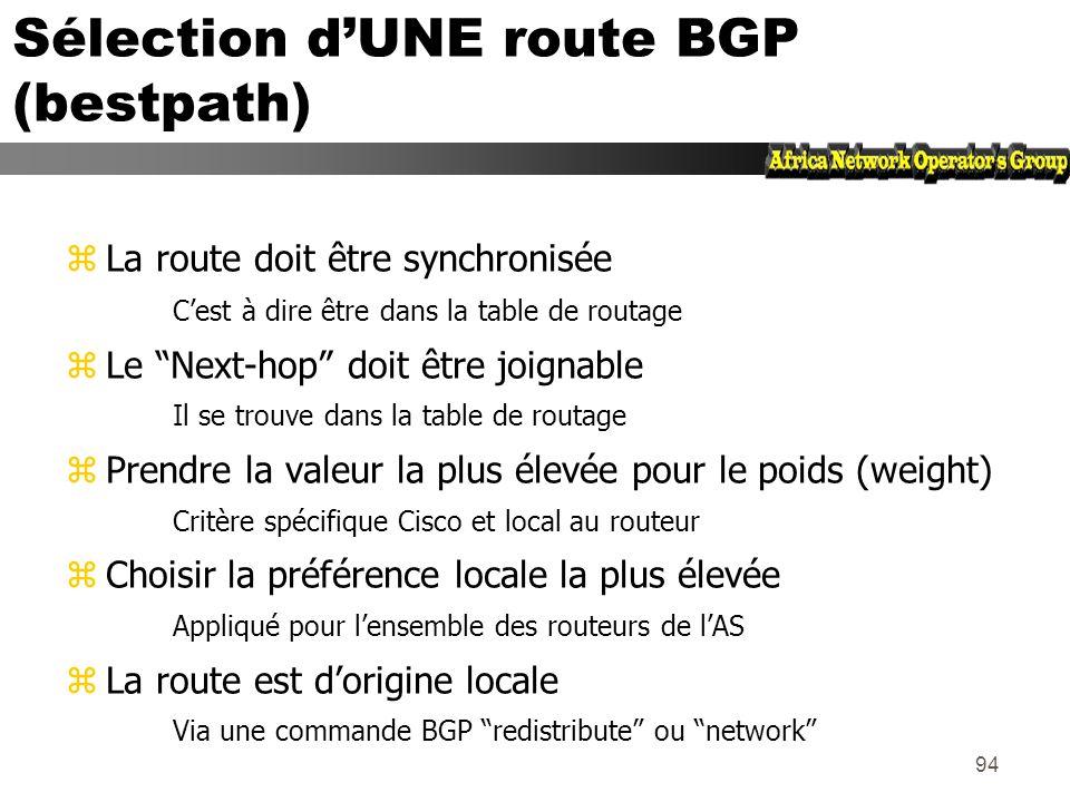 93 Synchronization (synchronisation) zSpécifique IOS Cisco : BGP nannoncera pas une route avant que lensemble des routeurs de lAS ne lait apprise par