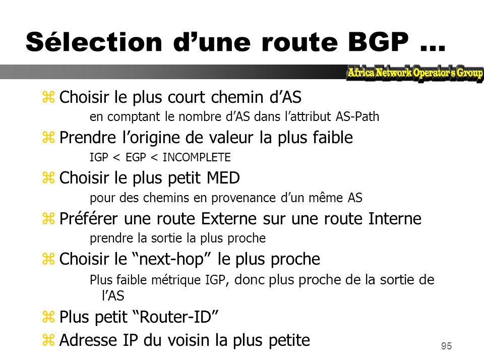 94 Sélection dUNE route BGP (bestpath) zLa route doit être synchronisée Cest à dire être dans la table de routage zLe Next-hop doit être joignable Il