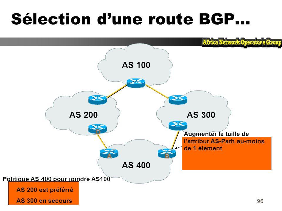95 Sélection dune route BGP... zChoisir le plus court chemin dAS en comptant le nombre dAS dans lattribut AS-Path zPrendre lorigine de valeur la plus