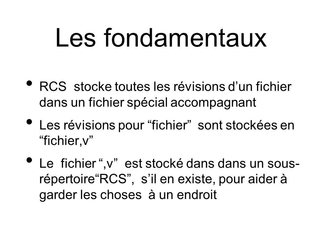 Les fondamentaux RCS stocke toutes les révisions dun fichier dans un fichier spécial accompagnant Les révisions pour fichier sont stockées en fichier,v Le fichier,v est stocké dans dans un sous- répertoireRCS, sil en existe, pour aider à garder les choses à un endroit
