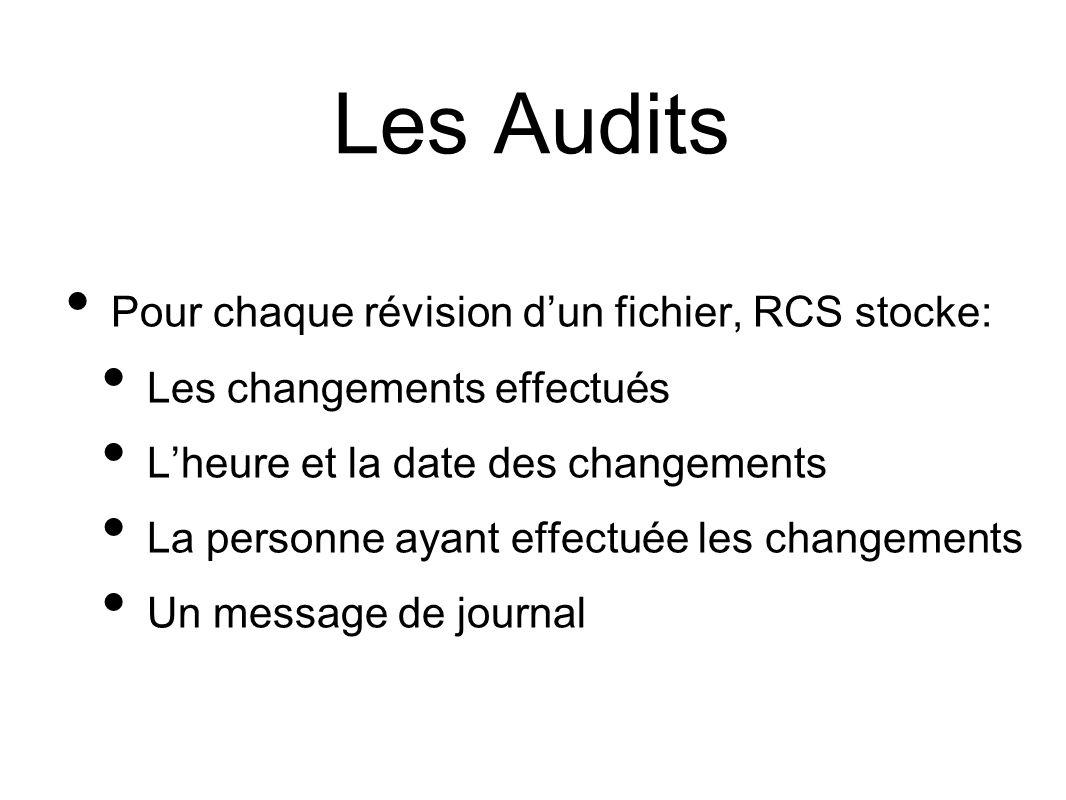 Les Audits Pour chaque révision dun fichier, RCS stocke: Les changements effectués Lheure et la date des changements La personne ayant effectuée les changements Un message de journal